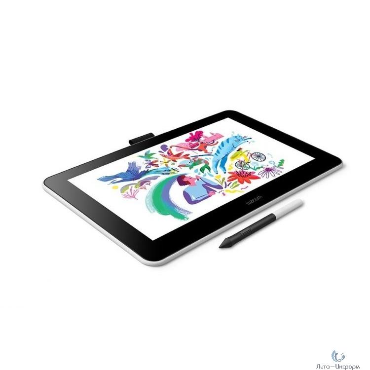 Графический планшет Wacom One 13 pen display LED USB Type-C белый