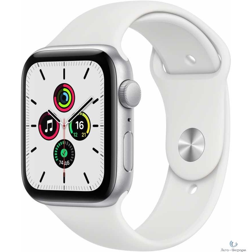 Apple Watch SE GPS, 44mm Silver Aluminium White Sport Band [MYDQ2RU/A]