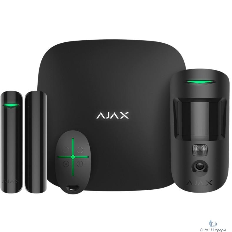 AJAX 16582.42.BL1 Стартовый комплект AJAX ( Hub 2, датчик движения MotionCam, датчика открытия DoorProtect, брелок SpaceControl), чёрный