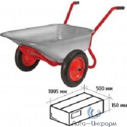 FIT РОС 77629 Тачка строительная двухколесная,  ПУ колеса, 110 л, грузоподъемность 260 кг, Профи