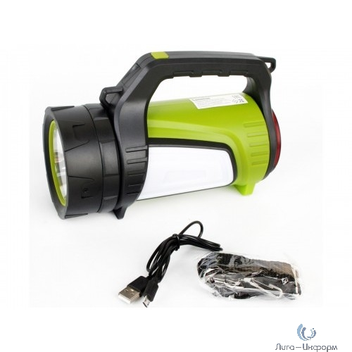 Camelion E1338 (фонарь аккум., черн/зел, USB2.0, Micro USB, Powerbank, 5Вт, 6А-ч, пластик, кор.)