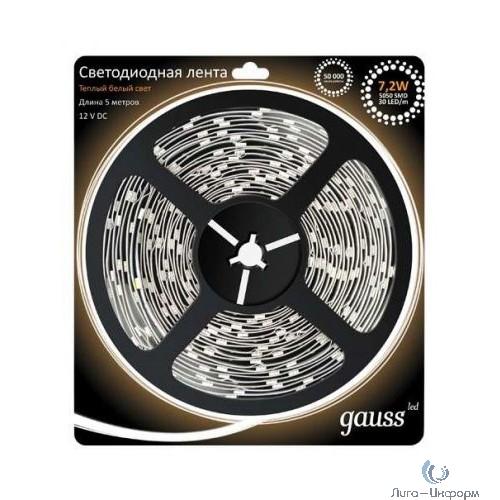 GAUSS 312000107 Лента светодиодная LED 5050/30-SMD 7.2W 12V DC теплый белый 5м