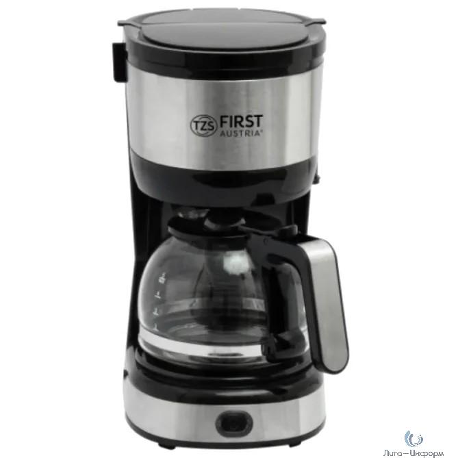 FIRST 5464-4 Кофеварка, 5 чашек  (0.6 л)  750 Вт, антикапля, Черный Стальной.