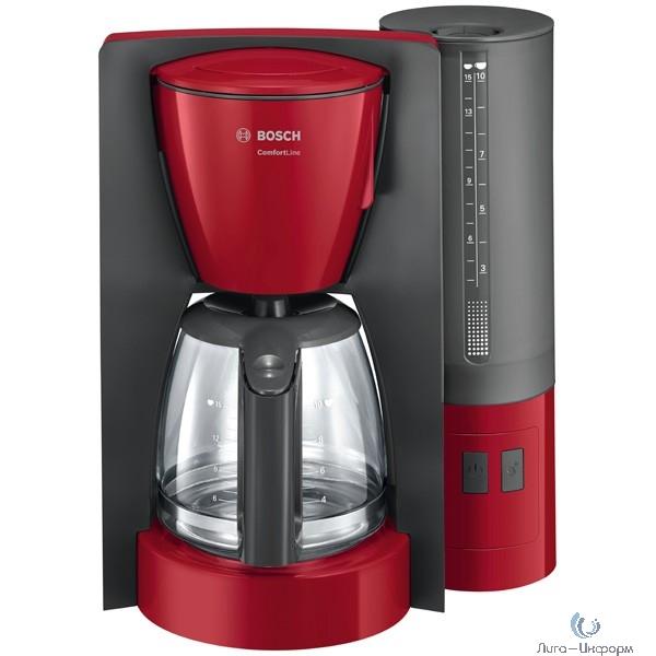 Кофеварка капельная Bosch TKA6A044 1200Вт серый/красный