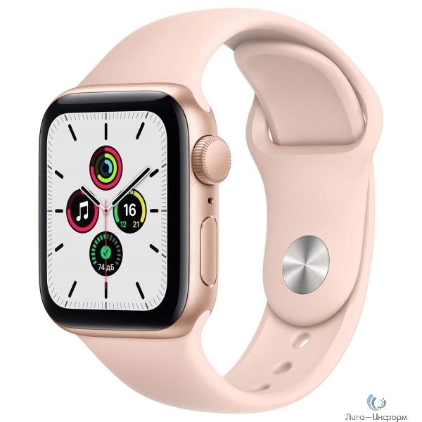 Apple Watch SE GPS, 44mm Gold Aluminium Case with Pink Sand Sport Band [MYDR2RU/A]