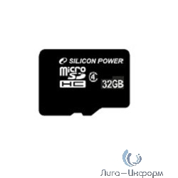 Micro SecureDigital 32Gb Silicon Power SP032GBSTH004V10-SP {MicroSDHC Class 4, SD adapter}