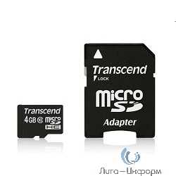 Micro SecureDigital 4Gb Transcend TS4GUSDHC10 {MicroSDHC Class 10, SD adapter}
