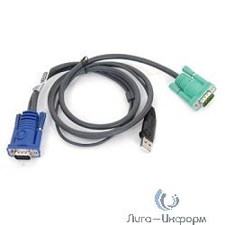 ATEN 2L-5201U Кабель KVM  USB(тип А Male)+HDB15(Male) <->  SPHD15(Male) 1,2м., черный.