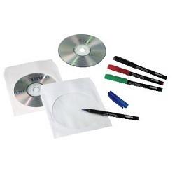 HAMA Конверты для CD/<wbr>DVD бумажные с прозрачным окошком 100шт (белый) [00062672]