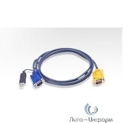 ATEN 2L-5203UP Кабель KVM  USB(Kлав+мышь)(Male)+HDB15(Male) <-> SPHD15(Male-2xMale) 3,0м., тонкий, черный.