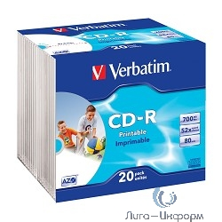 43424  VERBATIM CD-R 80 52x DL+ SL/20 Photo Print  (Slim case 20)