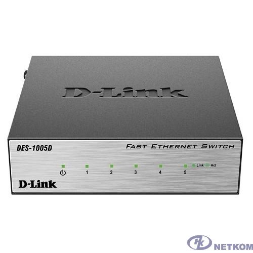 D-Link DES-1005D/O2B Неуправляемый коммутатор с 5 портами 10/100BASE-TX