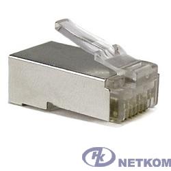 """Hyperline PLUG-8P8C-U-C6-SH Разъем RJ-45(8P8C) под витую пару, категория 6 (50 µ""""/ 50 микродюймов), экранированный, универсальный (для одножильного и многожильного кабеля) 1шт"""