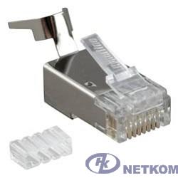 """Hyperline PLUG-8P8C-UV-C6-TW-SH Разъем RJ-45(8P8C) ,  экранированный, со вставкой, категория 6(50 µ""""/ 50 микродюймов), универсал.(для однож. и многожил/ кабеля),для толстых жил1.35-1.5 мм"""
