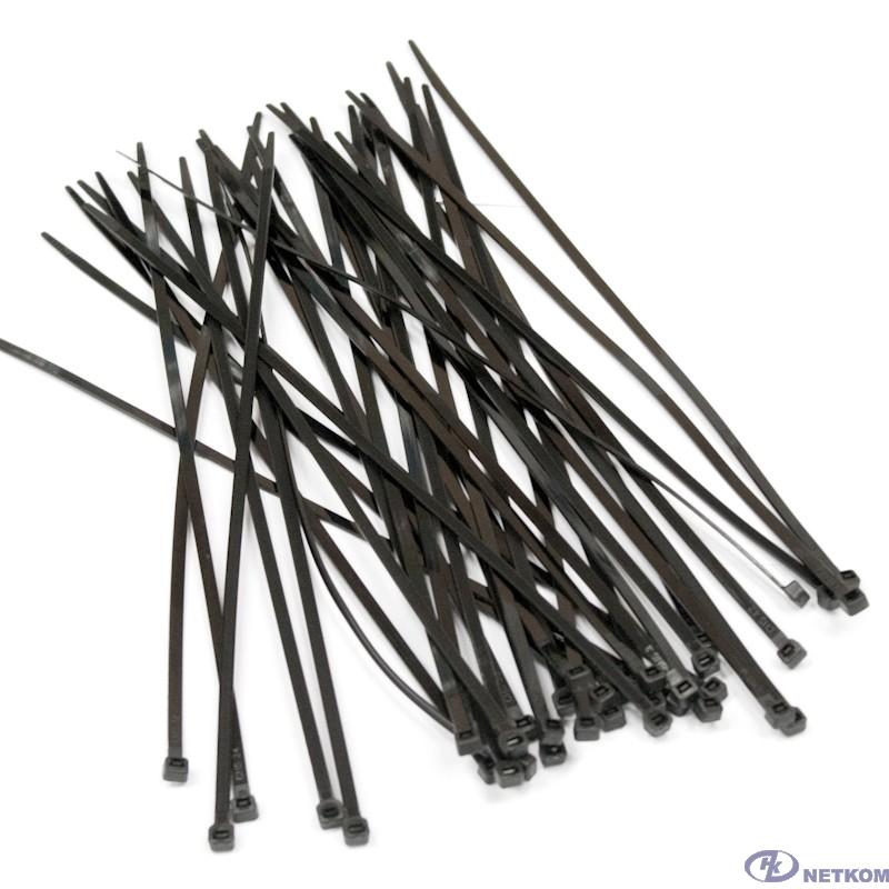 Hyperline GT-200IBC Стяжка нейлоновая неоткрывающаяся, безгалогенная (halogen free), 200x3.6мм, черная, (100 шт)