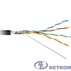Hyperline FTP4-C5E-SOLID-OUTDOOR-40-500 (FUTP4-C5E-S24-OUT-PE-BK-500) Кабель FTP (F/UTP), кат. 5e, 4 пары, (500м), (24 AWG),  (solid), экран - фольга, для внешней прокладки (+60 C - -40 C), PE
