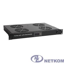 """Hyperline TRFA-MICR-4F-RAL9004 Модуль вентиляторный 19"""", 1U, глубиной 290мм, с термостатом и 4-я вентиляторами, цвет черный (RAL 9004)"""