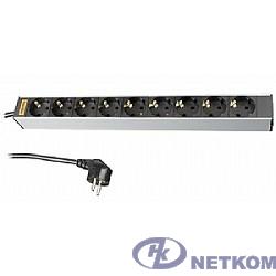 """Hyperline SHT19-9SH-2.5EU Блок розеток для 19"""" шкафов, горизонтальный, 9 универсальных розеток, 16A, шнур 2.5м"""