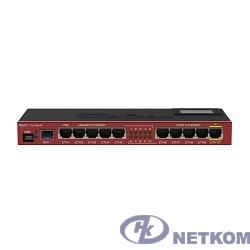 MikroTik RB2011UiAS-IN Маршрутизатор для помещений: 10 Ethernet (5 Gigabit), 1 SFP, 128 МБ RAM, сенсорный дисплей и раздача PoE-питания