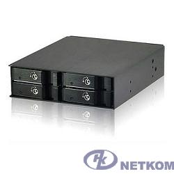 "Procase L2-104-SATA3-BK {Hot-swap корзина 4 SATA3/SAS, черный, с замком, hotswap mobie rack module for 2,5"" HDD(1x5,25) 2xFAN 40x15mm}"