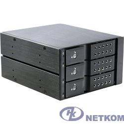 Procase T3-203-SATA3-BK {Hot-swap корзина 3 SATA3/SAS 6Gb (черный) hotswap trayless aluminium mobie rack module (2x5,25) 1xFAN 80x15mm}