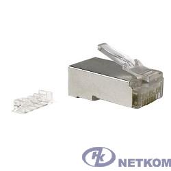 """Hyperline PLUG-8P8C-UV-C6-SH Разъем RJ-45(8P8C) под витую пару, категория 6 (50 µ""""/ 50 микродюймов), экранированный, универсальный (для одножильного и многожильного кабеля), со вставкой 1шт"""