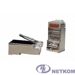 """Hyperline PLUG-8P8C-U-C5-SH-100 Разъем RJ-45(8P8C) под витую пару, категория 5e (50 µ""""/ 50 микродюймов), экранированный, универсальный (для одножильного и многожильного кабеля) (100 шт)"""