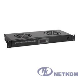 """Hyperline TRFA-MICR-2F-RAL9004 Модуль вентиляторный 19"""",1U, глубиной 170мм, с термостатом и 2-я вентиляторами, номинальная мощность 35.20 Вт, цвет черный (RAL 9004)"""