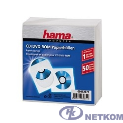 HAMA Конверты для CD/DVD бумажные с прозрачным окошком 50 шт. белый H-62671 [00062671]