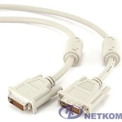 Кабель DVI-D dual link Gembird, 10м, 25M/25M, экран, феррит.кольца, пакет, белый [CC-DVI2-10M]