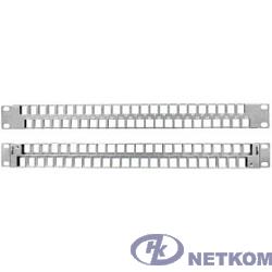 """Hyperline PPBLHD-19-48S-SH-RM Модульная патч-панель 19"""", 48 портов, Flat Type, 1U, для экранированных и неэкранированных модулей KJ2(C6A), KJNE, с задним кабельным организатором (без модулей)"""