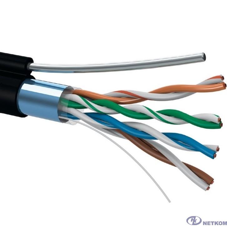5bites Кабель FS5505-305C(P)E-M FTP / SOLID / 5E / 24AWG / COPPER / PVC(+PE) / BLACK / OUTDOOR / MESSENGER / DRUM / 305M