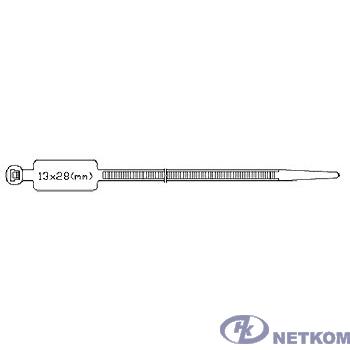 Hyperline GTK-300STC Стяжка нейлоновая неоткрывающаяся, безгалогенная (halogen free), 300x4.8мм, с площадкой для маркера (100 шт)