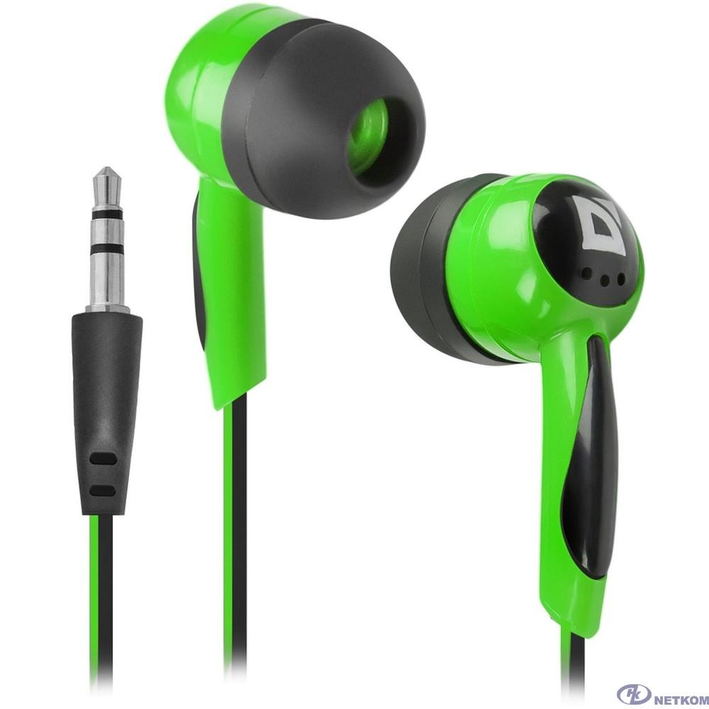 Defender Наушники вставки Basic 604 черный + зеленый [63607]