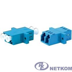 Hyperline FA-P11Z-DLC/DLC-N/WH-BL Оптический проходной адаптер LC/UPC-LC/UPC, SM, duplex, корпус пластиковый, синий, белые колпачки