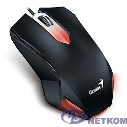 Genius Мышь X-G200 Black { эргономичная, подсветка, оптическая, 1000 dpi, 3 кнопки+колесо прокрутки, провод 1,5 м, USB} [31040034100]