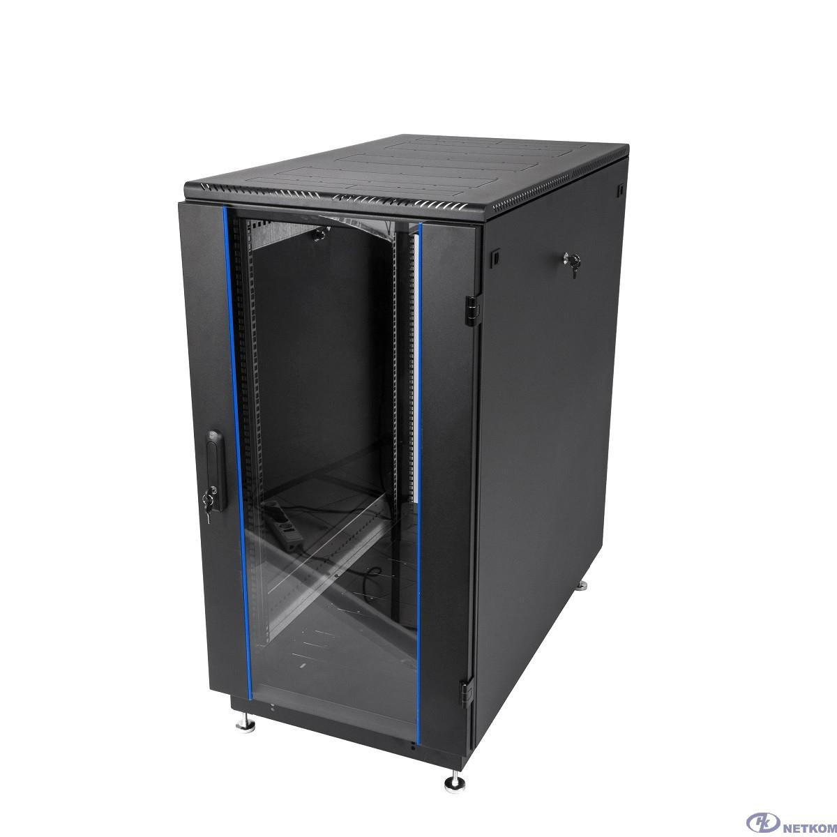 ЦМО Шкаф телекоммуникационный напольный 27U (600x600) дверь стекло, цвет чёрный (ШТК-М-27.6.6-1ААА-9005) (2 коробки)