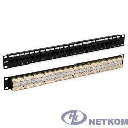 """Hyperline PP3-19-24-8P8C-C6-110D Патч-панель 19"""", 1U, 24 порта RJ-45, категория 6, Dual IDC, ROHS, цвет черный (задний кабельный организатор в комплекте)"""