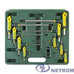 """Набор KRAFTOOL Ключи """"INDUSTRIE"""" имбусовые,Cr-Mo(S2),Т-образные, эргоном двухкомп рукоятка,HEX,с шариком,9 шт,в боксе [27454-H9]"""