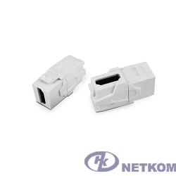 Hyperline KJ1-HDMI-AV18-WH Вставка формата Keystone Jack с проходным адаптером HDMI (Type A), 90 градусов, ROHS, белая
