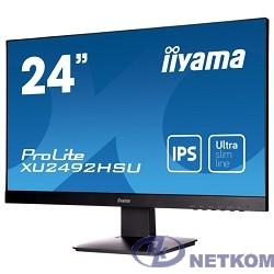 "IIYAMA 23.8"" XU2492HSU-B1 (A)черный {IPS LED 1920x1080 5ms 16:9 250cd 178гр/178гр D-Sub HDMI DisplayPort 2Wx2}"