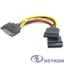Gembird/Cablexpert Кабель питания SATA, 15см, 15pin (M)/2x15pin(F), на 2 SATA устр (CC-SATAM2F-01)