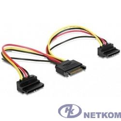 Gembird/Cablexpert Кабель питания SATA, 15см, 15pin (M)/2x15pin(F) на 2 SATA устройства, угловой разъем (CC-SATAM2F-02)