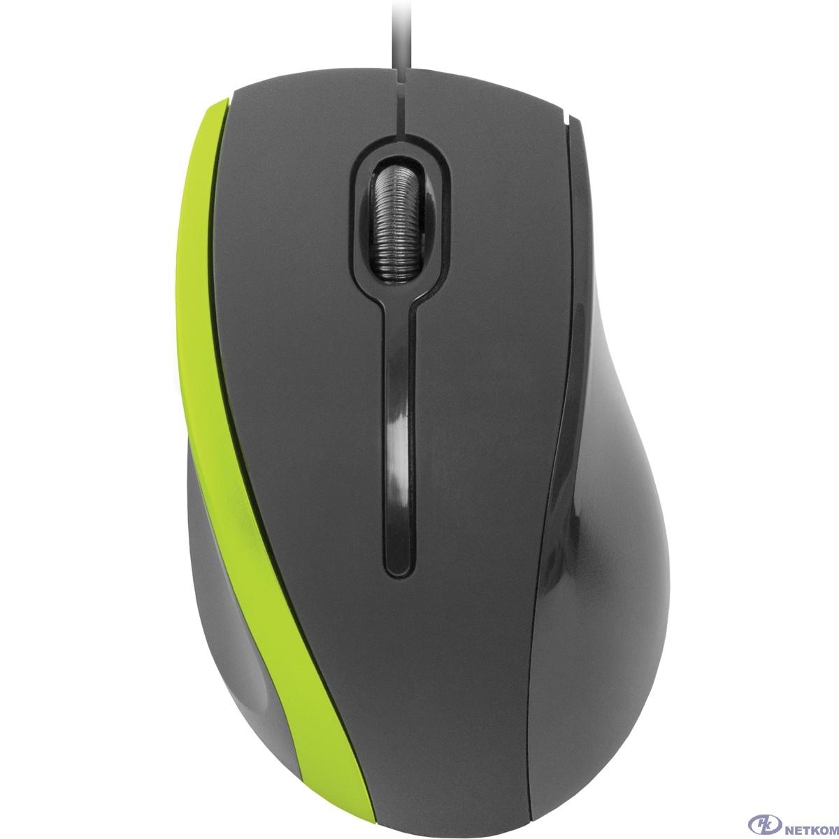 Defender MM-340 Black-Green [52346] {Проводная оптическая мышь, 3кнопки,1000dpi}