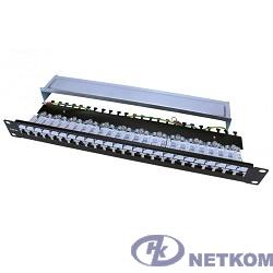 """Hyperline PP3-19-24-8P8C-C5E-SH-110D Патч-панель 19"""", 1U, 24 порта RJ-45 полн. экран., категория 5e, Dual IDC, ROHS, цвет черный"""