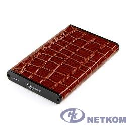 """Gembird EE2-U3S-70L-BR Внешний корпус 2.5"""" , коричневый, USB 3.0, SATA, металл+кожзам, блистер"""