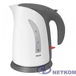 MYSTERY MEK-1639 Чайник, Мощность: 1800 Вт, Объём: 1,8 л, Цвет: Белый/Серый