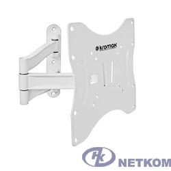 "Kromax TECHNO-3 white, Кр. алюм. наст. для TV 15""-40"", max 20 кг, 4 ст св., нак. 15°, пов. 180°, от ст. 60-370 мм, max VESA 200x200 мм."