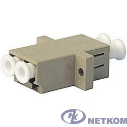 Hyperline FA-P11Z-DLC/DLC-N/WH-BG Оптический проходной адаптер LC-LC, MM, duplex, корпус пластиковый, бежевый, белые колпачки