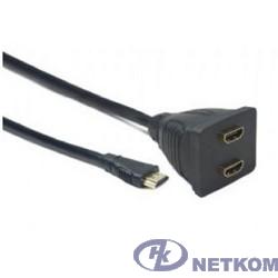 Cablexpert DSP-2PH4-002 Разветвитель HDMI Cablexpert DSP-2PH4-002, HD19F/2x19F, 1 компьютер => 2 монитора, пассивный, Full-HD, 3D, 1.4v